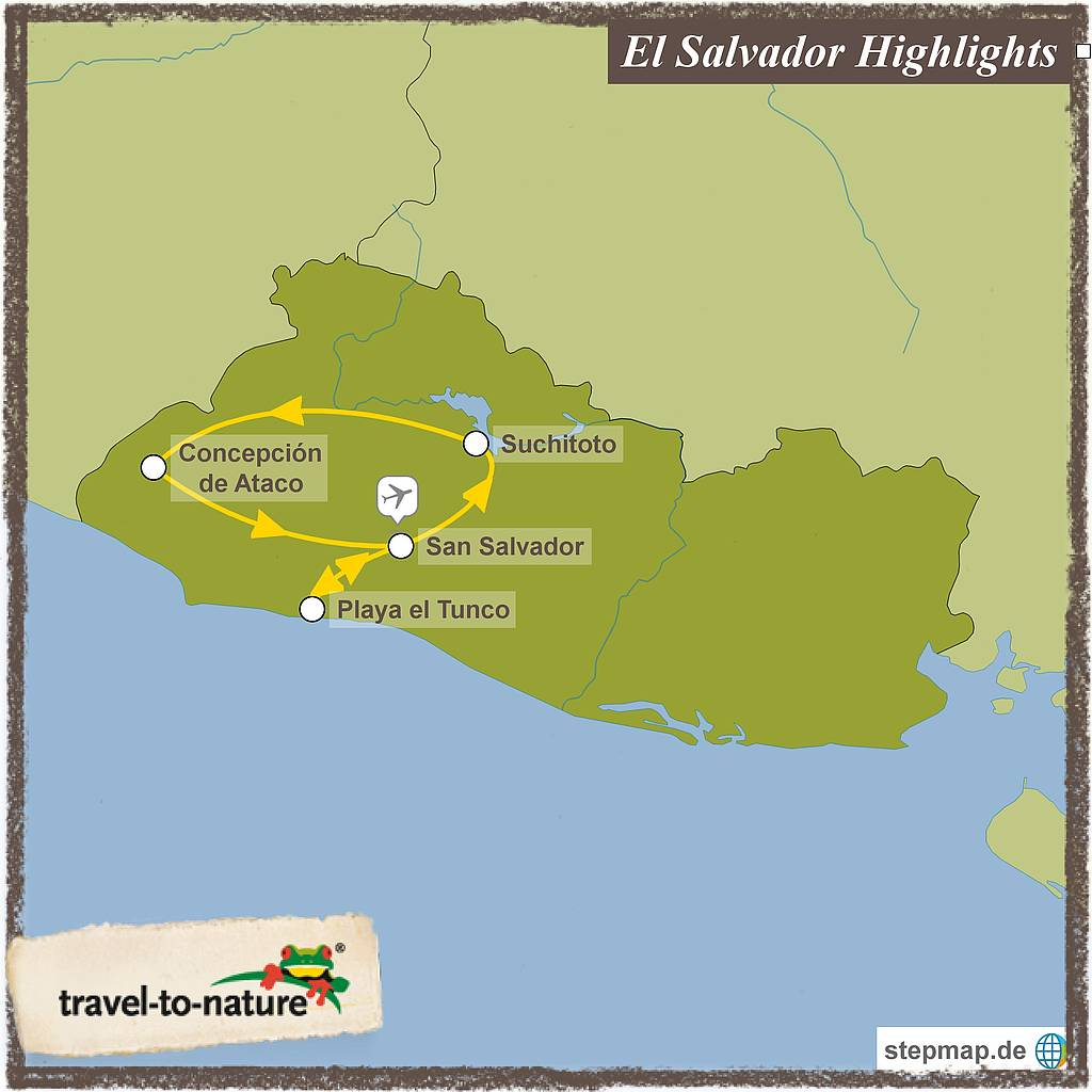 El Salvador Highlights Reiseroute